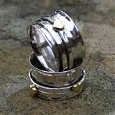 (STR14) Silver & Brass Heart Spinning Ring