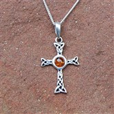 (APO11) Celtic Cross Amber Pendant