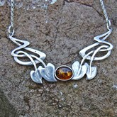 (ART1) Silver & Amber Art Nouveau Necklace