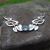 (ART2) Silver & Topaz Art Nouveau Necklace