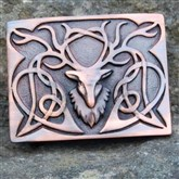 (KB03) Antique Bronze Celtic Stag Kilt Buckle