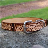 (DC6) Narrow Celtic Hand-dyed Dog Collar