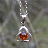 (APO12) Large Celtic Amber Pendant