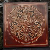 (CLP3) Celtic Rams Leather Wall Plaque