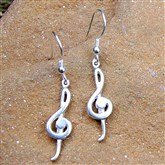 (RETE1) Silver Treble Clef Earrings
