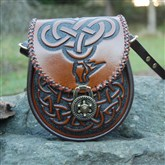 (LB1) Leather Bag with Celtic Dragon design