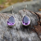 (AM1) Amethyst & Silver Drop Earrings