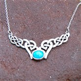 (ART15) Silver Celtic Necklace With Turquoise