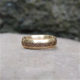 (GR18) Gold Lazer-engraved Celtic Ring