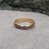 (GR17) Gold Lazer-engraved Celtic Ring