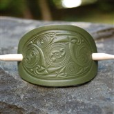 (HB3) Green Leather Celtic Hair Barrette