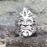(GM1) Silver Green Man Ring