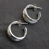 (ICE4) Silver Hoop Earrings
