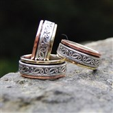 (ICR2) Silver Celtic Contrast Spinning Ring