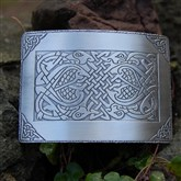 (KB04) Matt Silver Celtic Birds Kilt Buckle