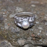 (ICR3) Silver & Pearl Scroll Ring
