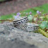 (STR15) Silver Moon & Star Spinning Ring