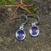 (SE5) Silver & Amethyst Drop Earrings
