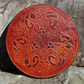 (CLP4) Round Celtic Rams Leather Wall Plaque