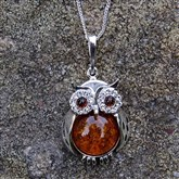 (AP62) Silver And Amber Large Owl Pendant