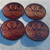 (LC02) Celtic Swans Leather Coasters